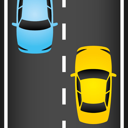 driveway: Cars on the road  Illustration