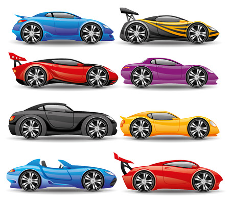Car icons isolated on white