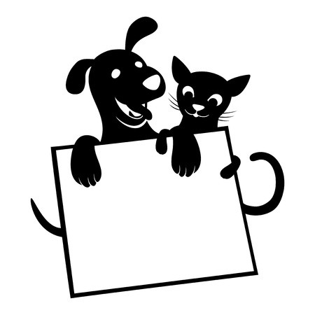 Cat and dog with blank board Vector