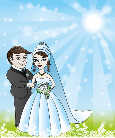 Newlyweds couple Vector