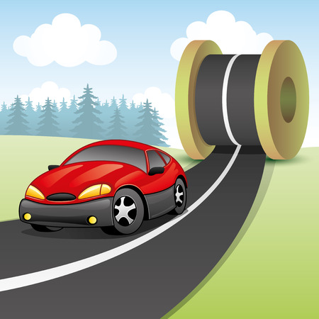 Red car on the road  Vector