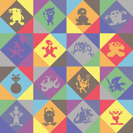 seamless background of Monsters  Vector