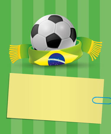 Football with brazil banner Vector