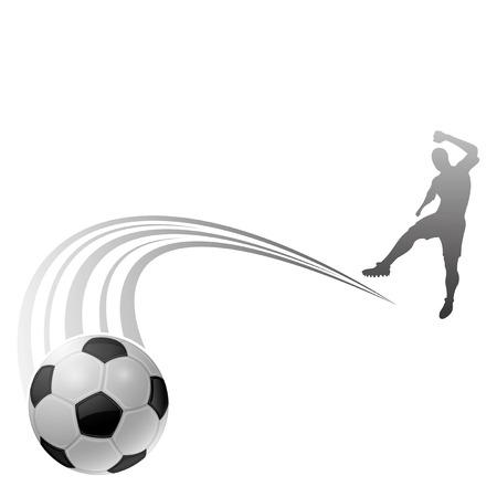 Footballer kick a ball silhouette Vector