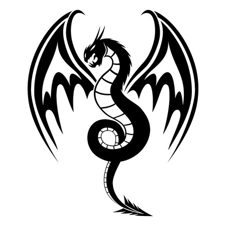 dragon tattoo design: Dragon sign silhouette Illustration
