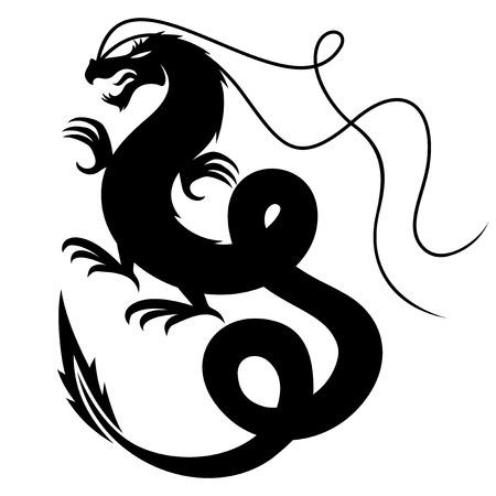 Dragon sign silhouette Vector