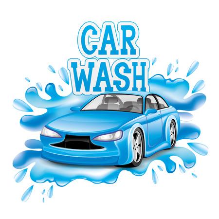 carro caricatura: Signo de lavado de coches