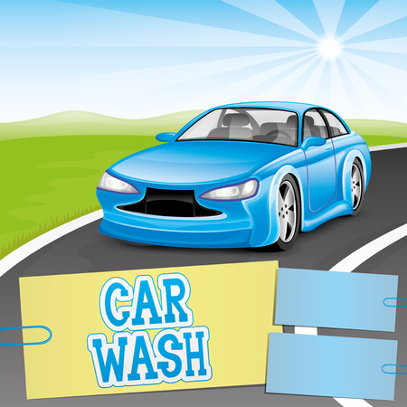 Car wash sign with a car Vector