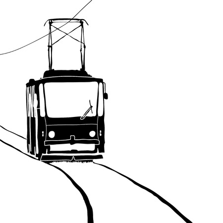tramcar: Tramway on white Illustration
