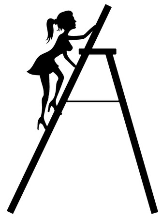 Woman on the stair. Vector