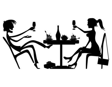 romantic: Romantic couple. Illustration