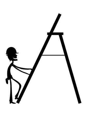 ingeniero caricatura: Reparador en la escalera.
