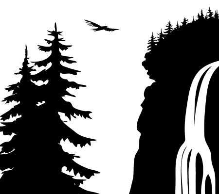 滝。  イラスト・ベクター素材