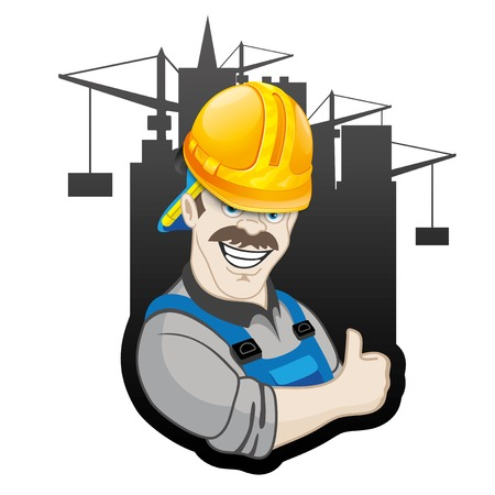 proffesional: Vector sign. Builder. Illustration