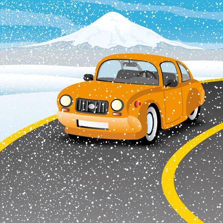 Orange car on the road. Vector