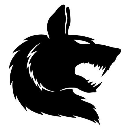 loup garou: Wolf en illustration en noir