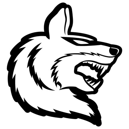 Wolf with bold outline illustration  Vector