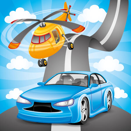 helicopter: Blue car and orange helicopter.