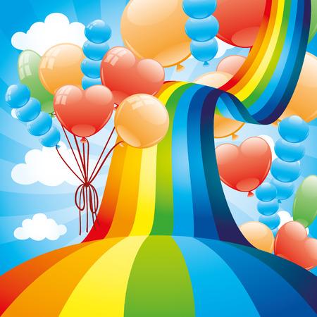cartoon spring: Rainbow and balloons. Illustration