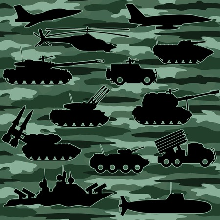 Seamless background. Military equipment. Vector