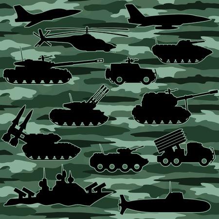 howitzer: Seamless background. Military equipment. Illustration