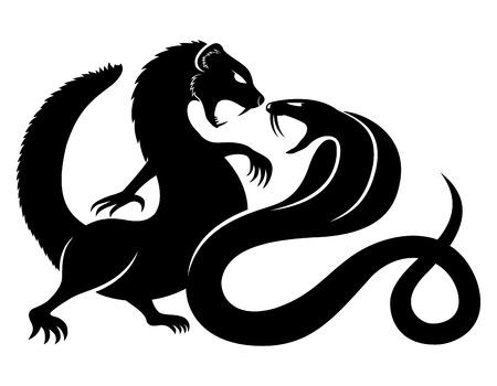serpiente cobra: Mangosta y cobra. Vectores