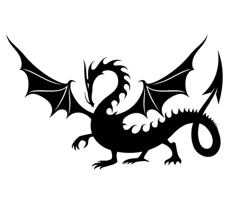 flying dragon: Dragon sign. Illustration