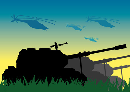 Tanks and helicopters.