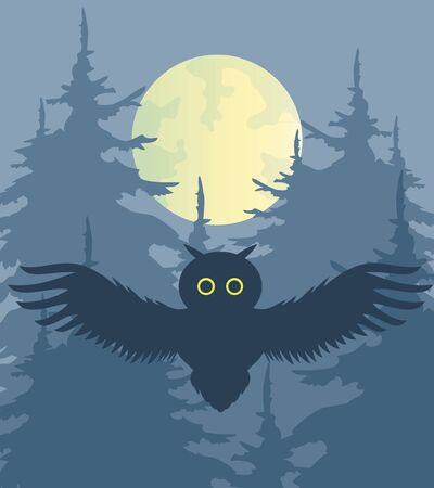 moon  owl  silhouette: Night forest. Illustration