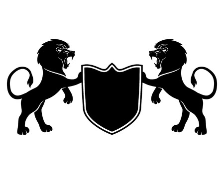 lion drawing: Lions and shield. Illustration
