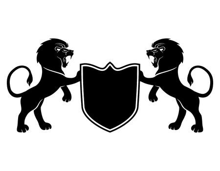 lion dessin: Lions et le bouclier.