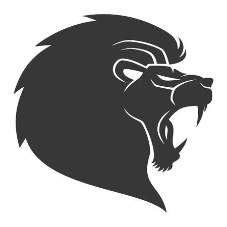 head silhouette: Lion.