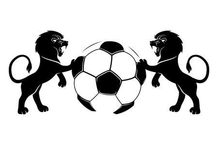 Voetbal en leeuwen. Stock Illustratie