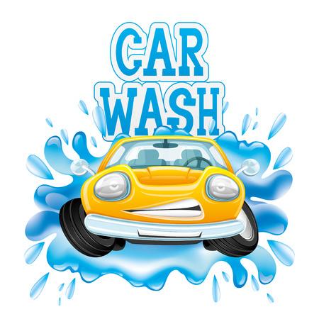 車を洗ってください。