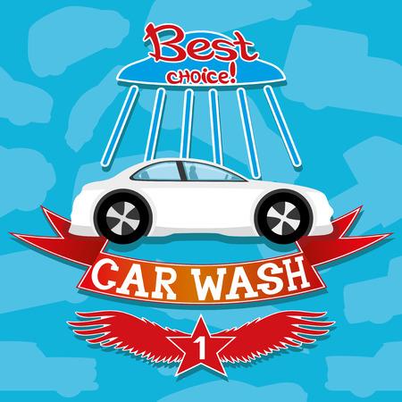 carro caricatura: Auto lavado.