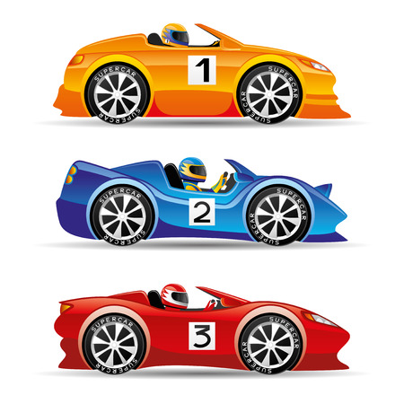 red sports car: Racing cars. Illustration