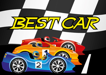 racer flag: Best car. Illustration