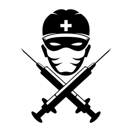 syringe inoculation: Medic. Illustration