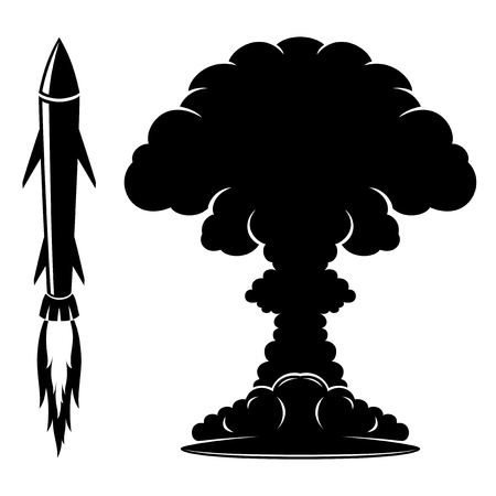 atomic symbol: Rocket sign and explosion. Illustration
