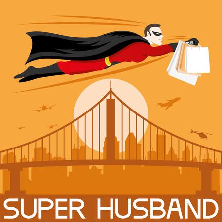 echtgenoot: Super man. Stock Illustratie