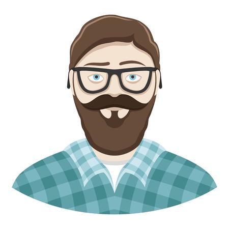 people  male: Bearded man. Illustration