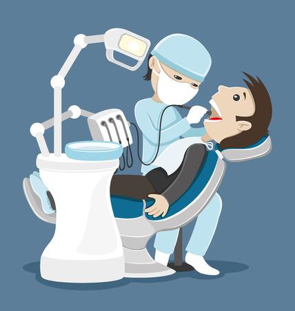 Dentista trata los dientes. Vectores