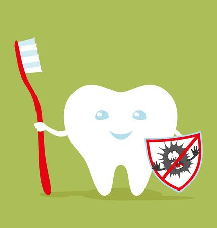diente caries: Diente sano con un cepillo de dientes y un escudo contra la caries dental. Vectores