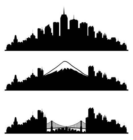 night skyline: City silhouettes.
