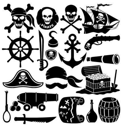 schepen: Piraat accessoires. Stock Illustratie