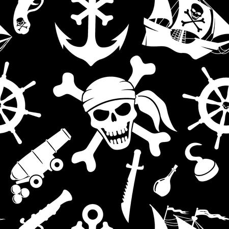 vector skull danger sign: pirate background Illustration