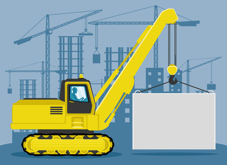 A crane lifts the load.