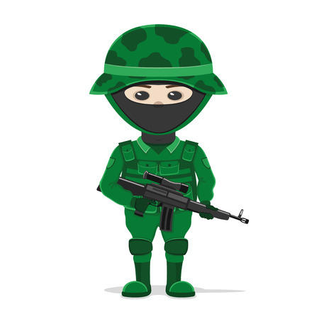 infantryman: Soldier on white background.