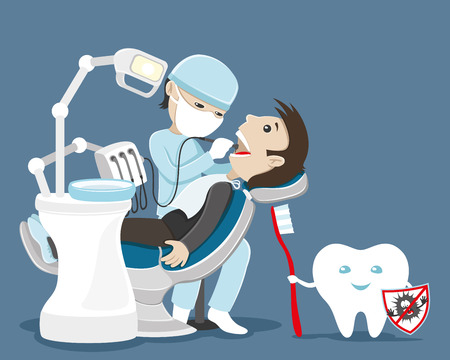 dentist cartoon: Dentist treats teeth.