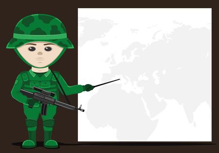 Soldier background with space for text. Illustration